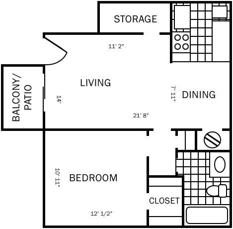 555 sq. ft. B floor plan
