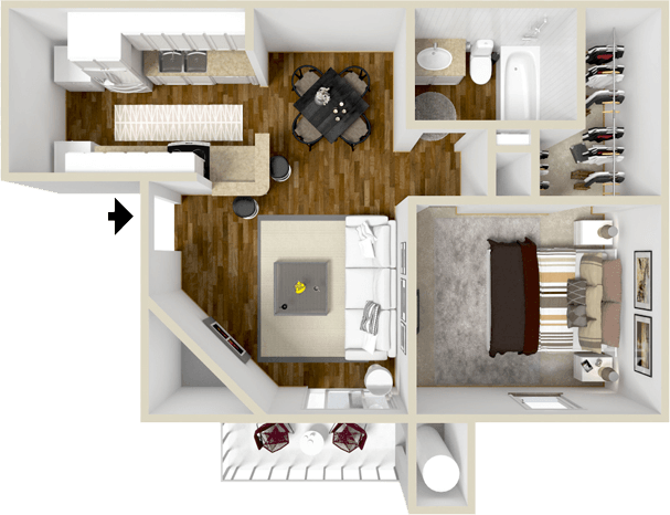 607 sq. ft. Brentwood floor plan
