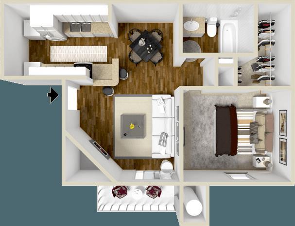 607 sq. ft. Brentwood floor plan