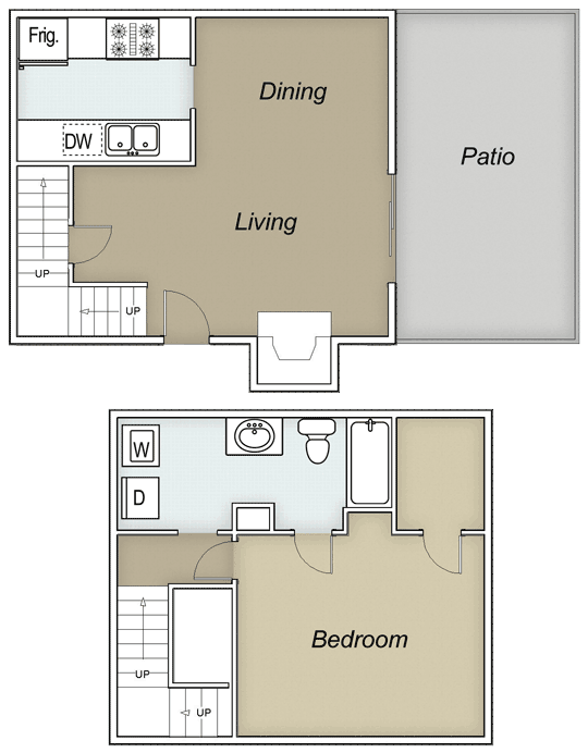 748 sq. ft. A floor plan