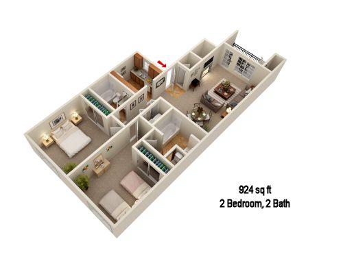 924 sq. ft. B3 floor plan
