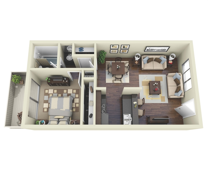 552 sq. ft. A1 floor plan