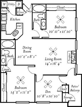 1,182 sq. ft. Merlot floor plan