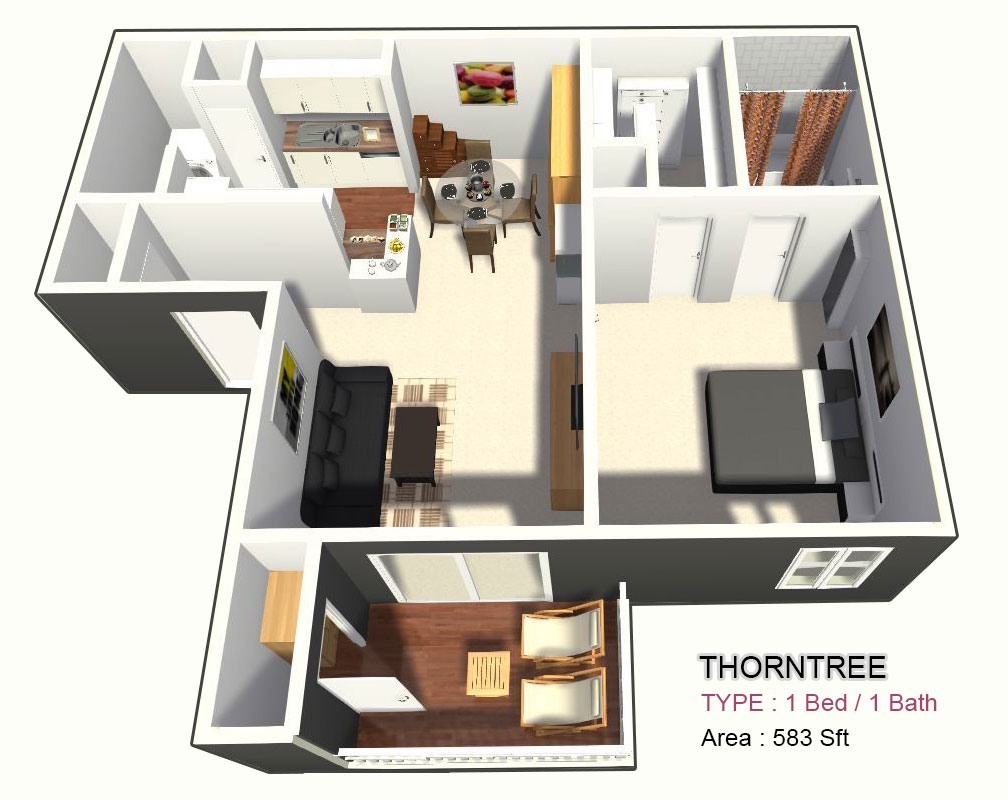 583 sq. ft. A floor plan