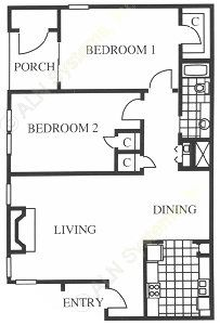 780 sq. ft. B floor plan