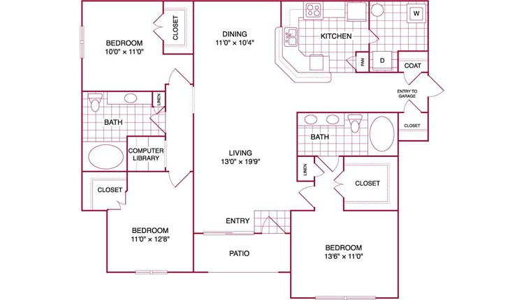 1,464 sq. ft. L GAR floor plan