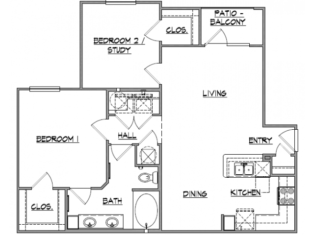 982 sq. ft. Baxter floor plan