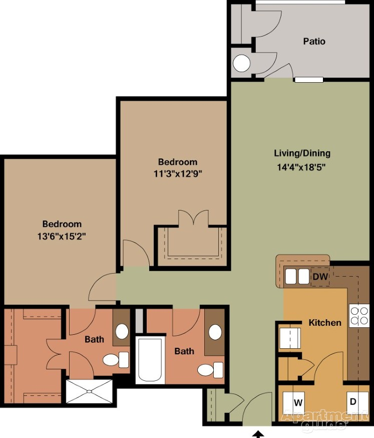 1,205 sq. ft. Dorsey/Mkt floor plan