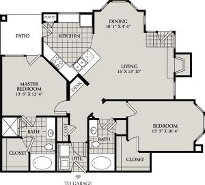 1,127 sq. ft. C3 floor plan