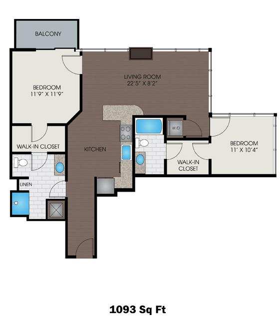 1,093 sq. ft. A4 floor plan