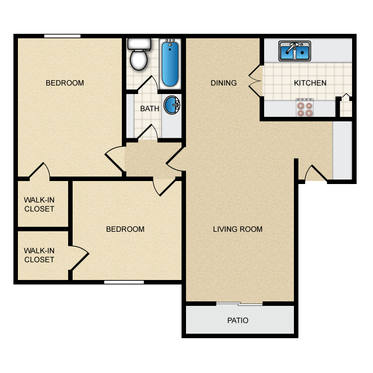 900 sq. ft. II-B1 floor plan