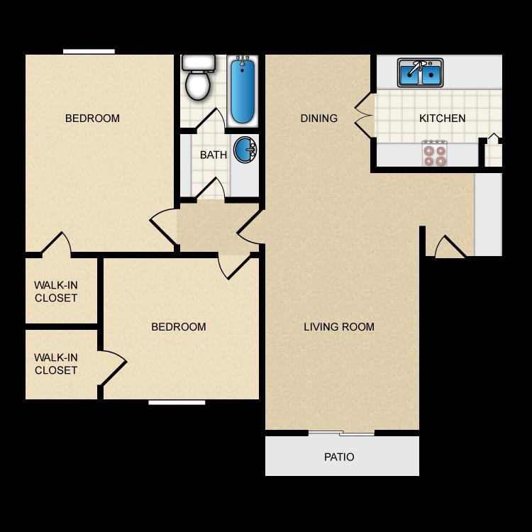 900 sq. ft. II-B1 floor plan