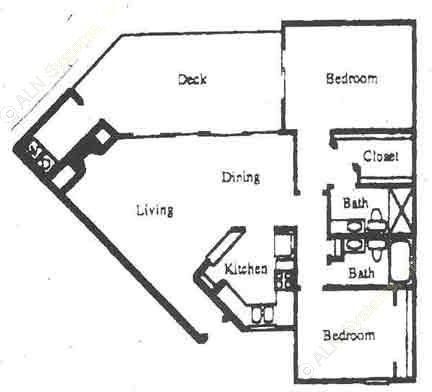 992 sq. ft. B3 floor plan