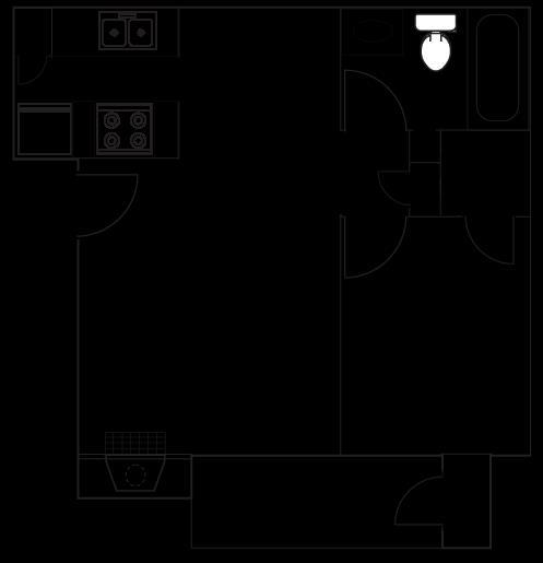 657 sq. ft. A5 floor plan
