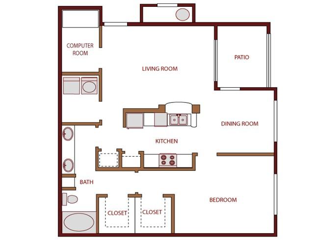 875 sq. ft. Drake floor plan