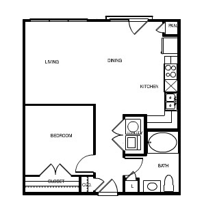 700 sq. ft. Barcelona floor plan