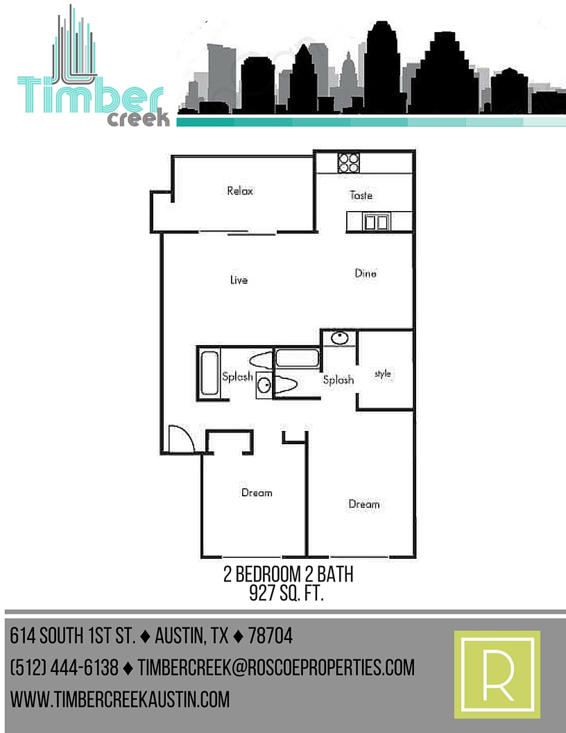 927 sq. ft. B6 floor plan