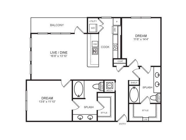 1,197 sq. ft. Clyde Warren floor plan