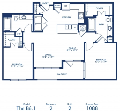 1,088 sq. ft. B6.1 floor plan