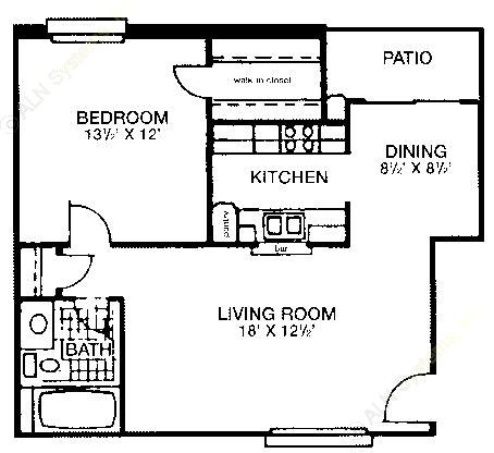 666 sq. ft. floor plan