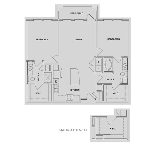 1,119 sq. ft. B2/B2-A floor plan