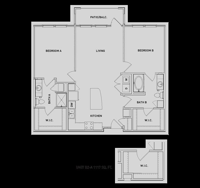 1,119 sq. ft. B2/B2-A floor plan