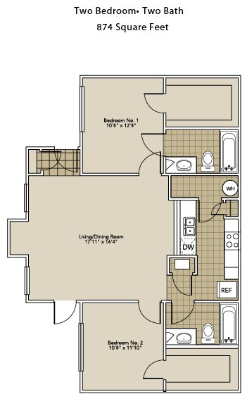 874 sq. ft. B1-A floor plan
