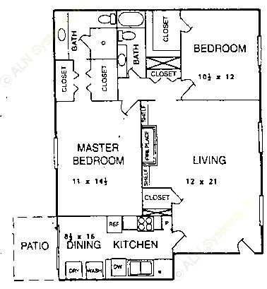 1,232 sq. ft. B1 floor plan