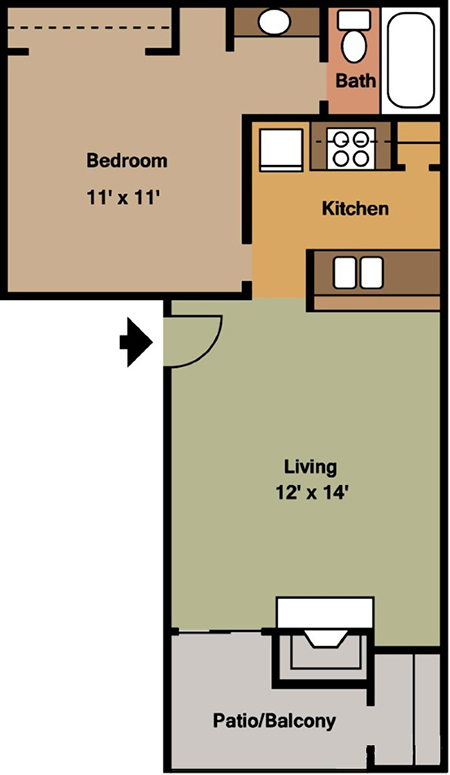 471 sq. ft. A1 floor plan
