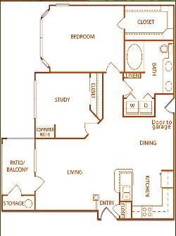 939 sq. ft. B1-Shire floor plan