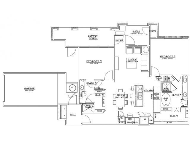1,134 sq. ft. B2.2 floor plan