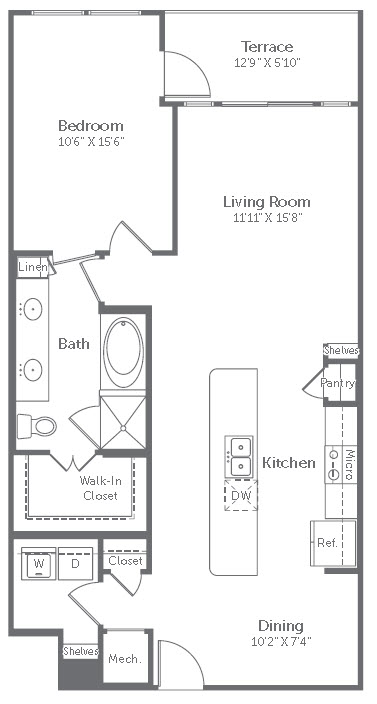 964 sq. ft. A14 floor plan