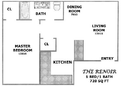 720 sq. ft. Cedar floor plan