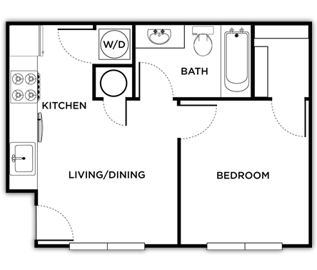 466 sq. ft. Venice floor plan