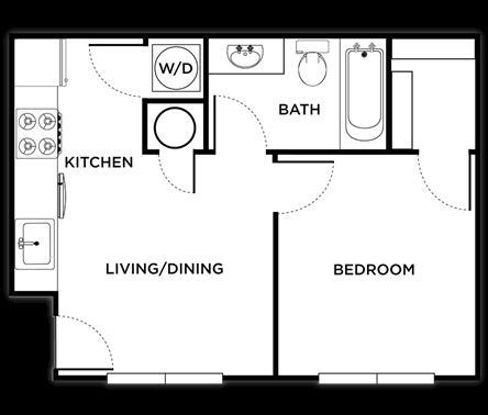 466 sq. ft. Venice floor plan