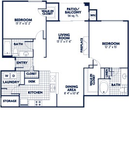 1,155 sq. ft. B7 floor plan