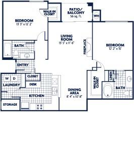 1,155 sq. ft. B7 floor plan
