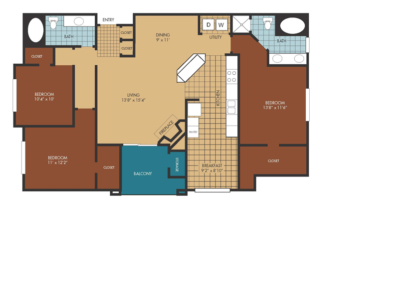 1,449 sq. ft. Wisteria floor plan