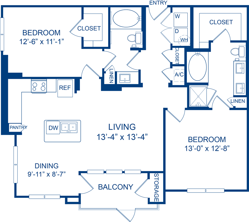 1,151 sq. ft. Winecup floor plan