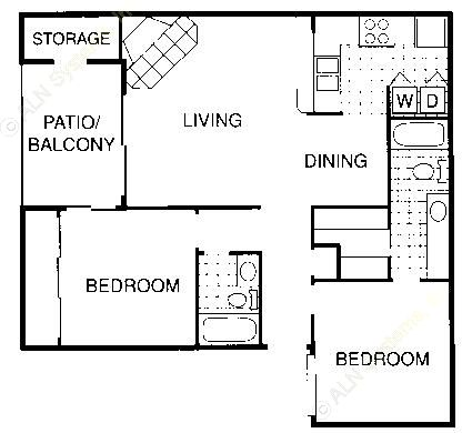 938 sq. ft. F floor plan
