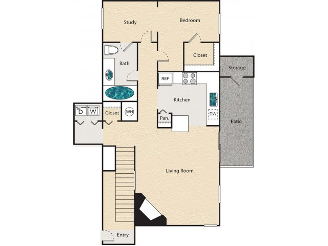 913 sq. ft. H - Lanchaster floor plan