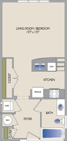 558 sq. ft. Bissonnet floor plan