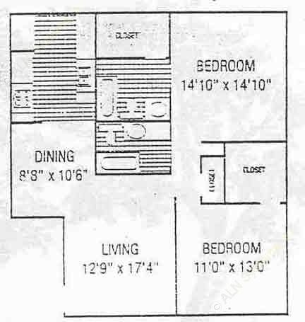 1,053 sq. ft. B3 floor plan