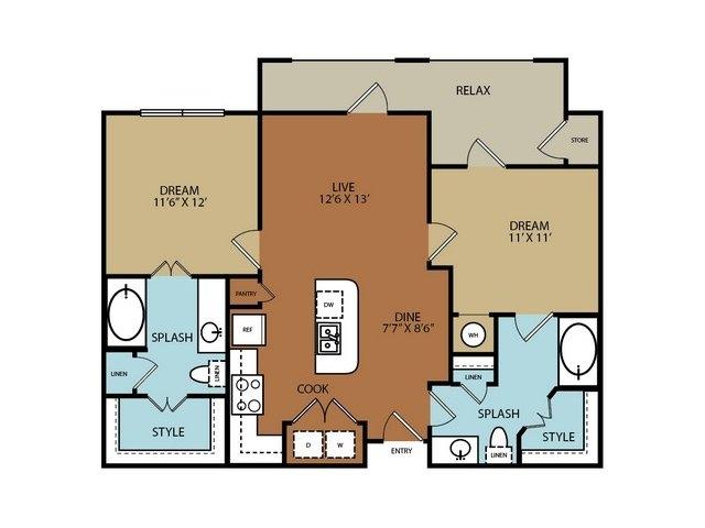 966 sq. ft. B1 floor plan