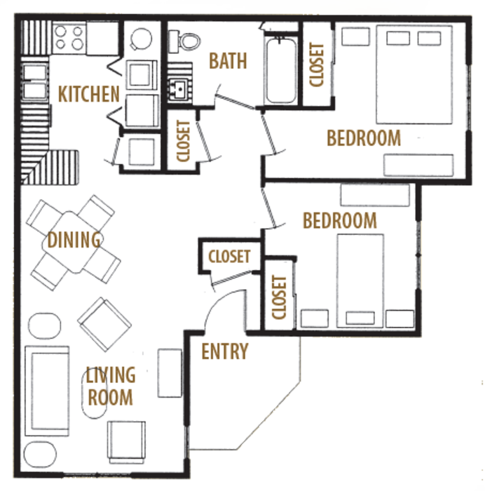 866 sq. ft. Mkt floor plan