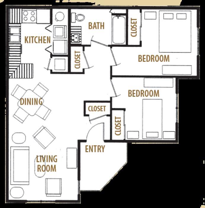 866 sq. ft. 60 floor plan