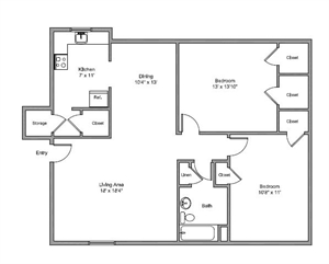 1,044 sq. ft. Colonial floor plan