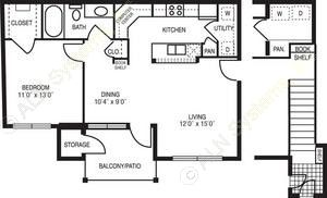787 sq. ft. Minuet A floor plan