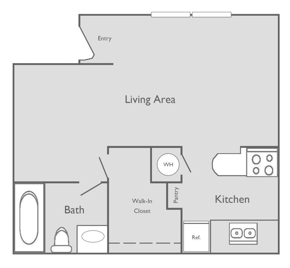 493 sq. ft. floor plan