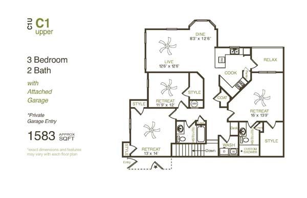 1,583 sq. ft. C1UG floor plan